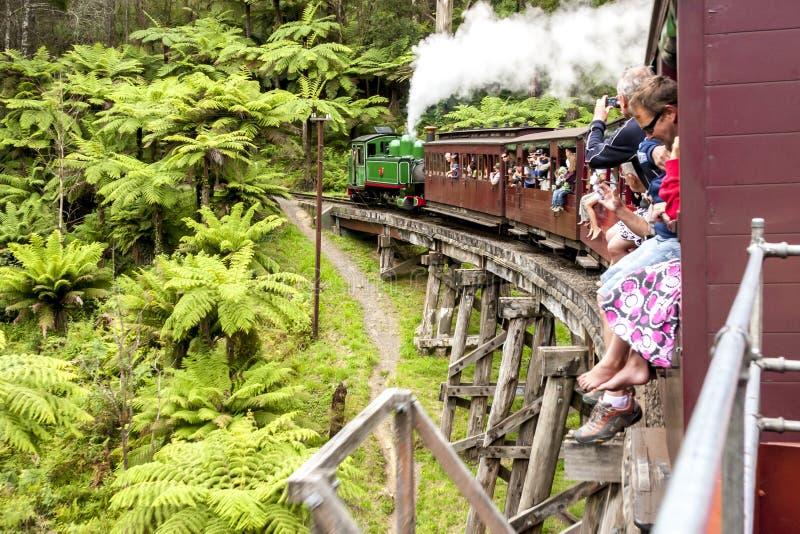 Melbourne, Australië - 7 januari 2009: Past Billy Billy stoomtrein met passagiers op een houten brug Dandenong Ranges stock foto's