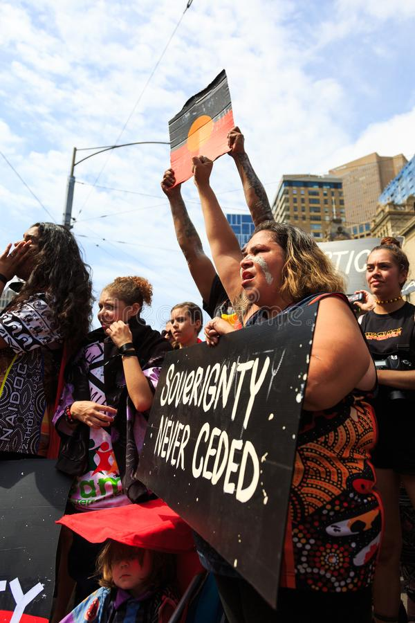 Download Invasion Day Australia Day Protests In Melbourne Editorial Stock Image - Image of street, news: 108771299