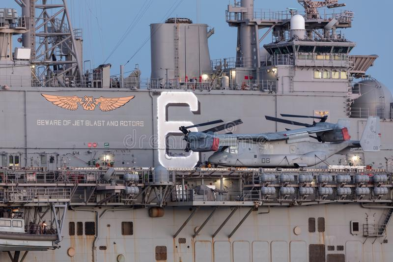 Bell Boeing MV-22 Osprey tilt rotor aircraft from the United States Marine Corps. stock images