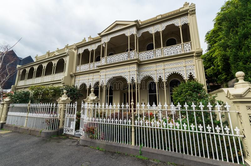 Historic terrace house in East Melbourne in Australia stock photography