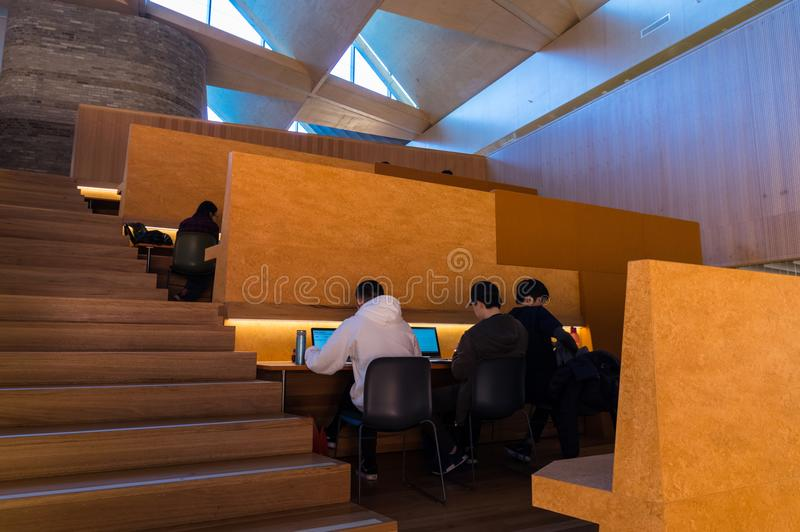 Students inside the Learning and Teaching Building at Monash University Clayton. stock images