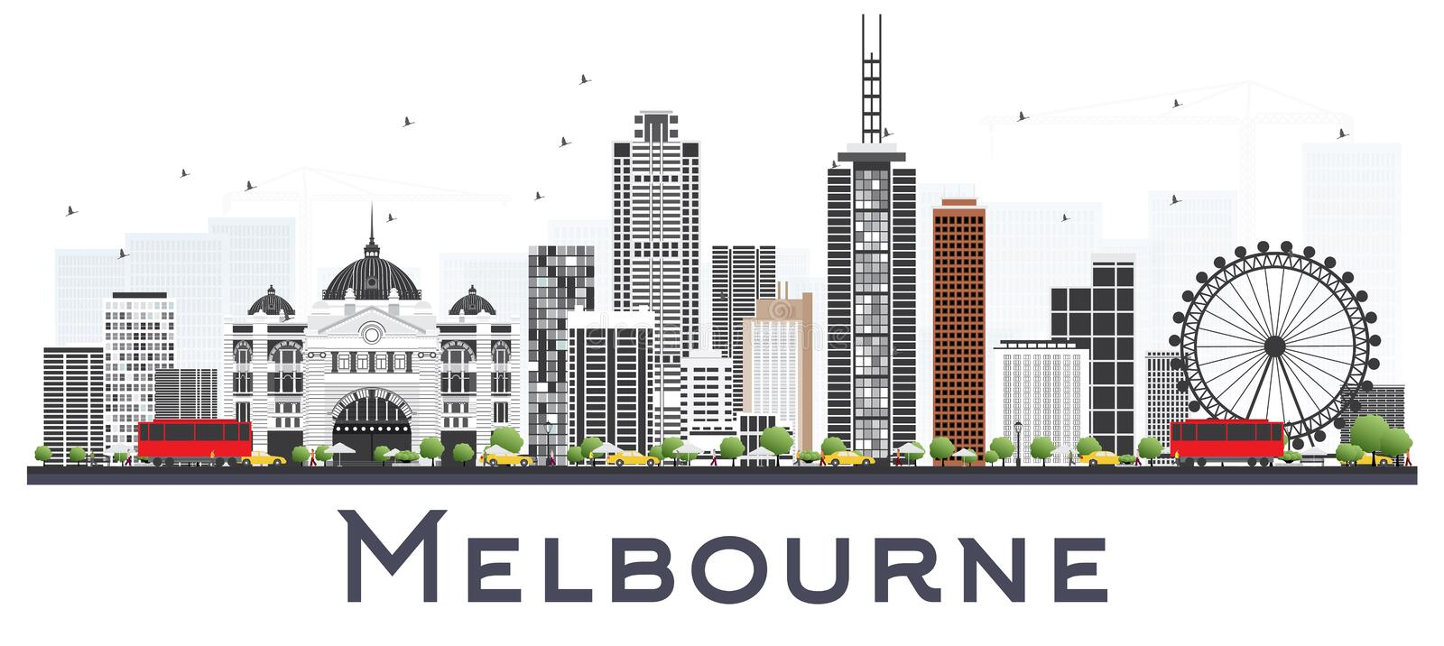 Melbourne Australia City Skyline with Gray Buildings Isolated on. White Background. Vector Illustration. Business Travel and Tourism Concept with Modern royalty free illustration