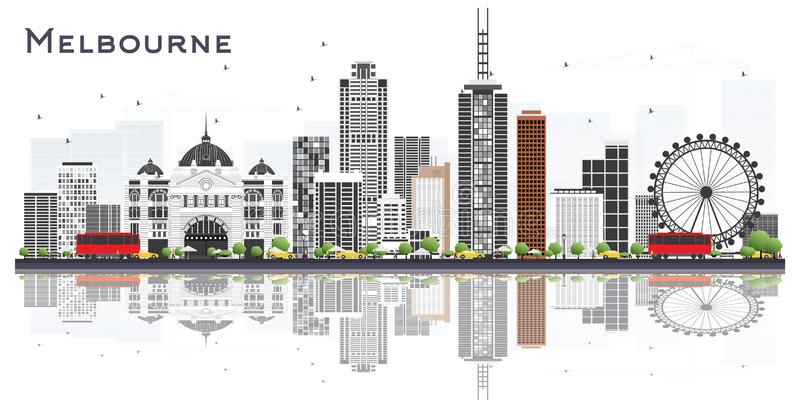 Melbourne Australia City Skyline with Gray Buildings and Reflections Isolated on White Background. Vector Illustration. Tourism Concept with Modern Buildings royalty free illustration
