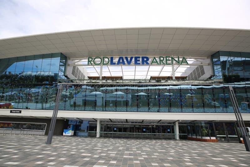 MELBOURNE, AUSTRALIA - 27 DE ENERO DE 2019: Arena de Rod Laver durante Abierto de Australia 2019 en el centro australiano del ten imagen de archivo libre de regalías