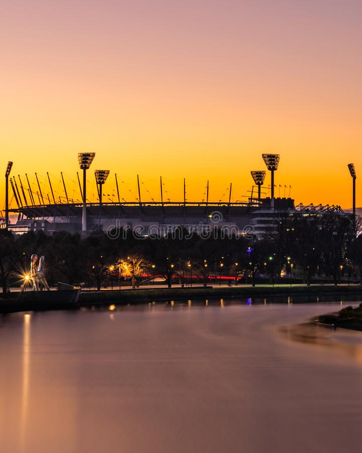 MELBOURNE, AUSTRALIA - 14 de julio de 2018: El grillo de Melbourne molió a imagen de archivo