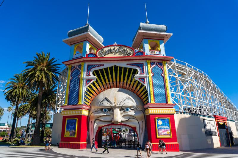 Melbourne Luna Park amusement park entrance. Melbourne, Australia - December 7, 2016: Melbourne Luna Park amusement park entrance with people royalty free stock photos
