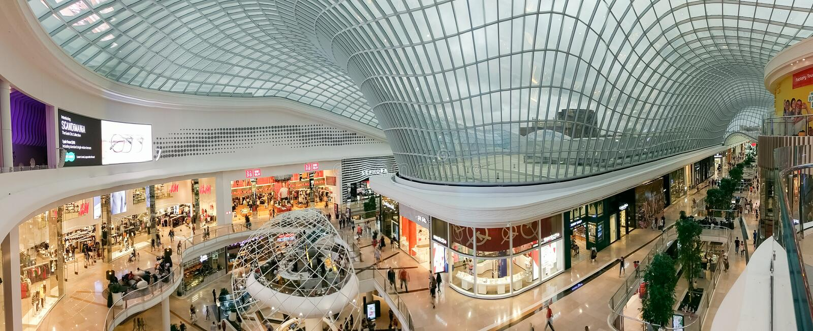 Atrium at Chadstone Shopping Centre in Melbourne, Australia. Melbourne, Australia - February 24, 2018: atrium at Chadstone Shopping Centre opened in October 2016 stock photos