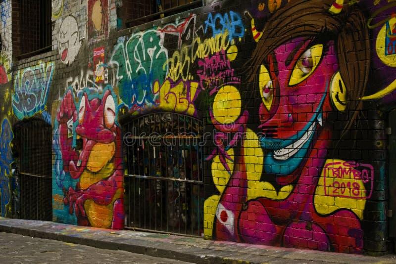 MELBOURNE , Australia, February 2019: Street art by unidentified artist royalty free stock image