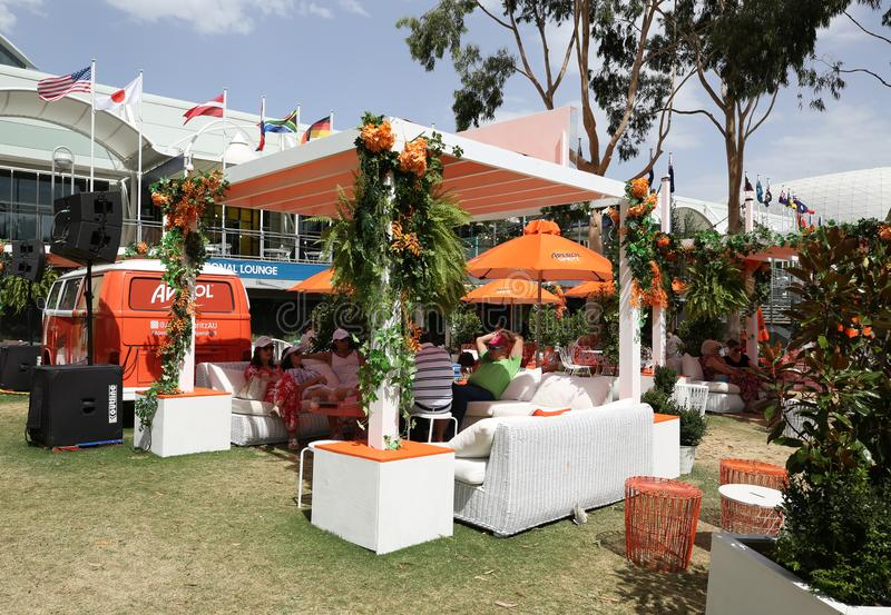 Aperol Spritz presented at Club Aperol at The Australian Open in Melbourne Park. MELBOURNE, AUSTRALIA - JANUARY 22, 2019: Aperol Spritz presented at Club Aperol royalty free stock photography