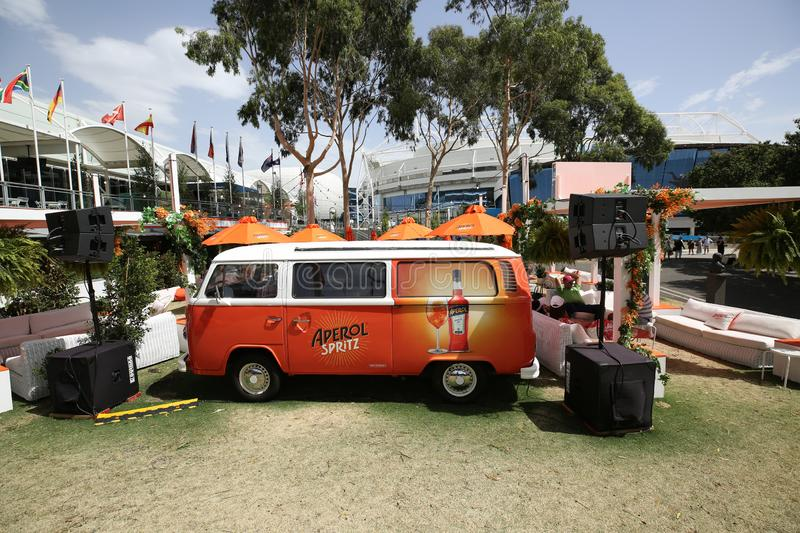Aperol Spritz presented at Club Aperol at The Australian Open in Melbourne Park. MELBOURNE, AUSTRALIA - JANUARY 22, 2019: Aperol Spritz presented at Club Aperol stock images