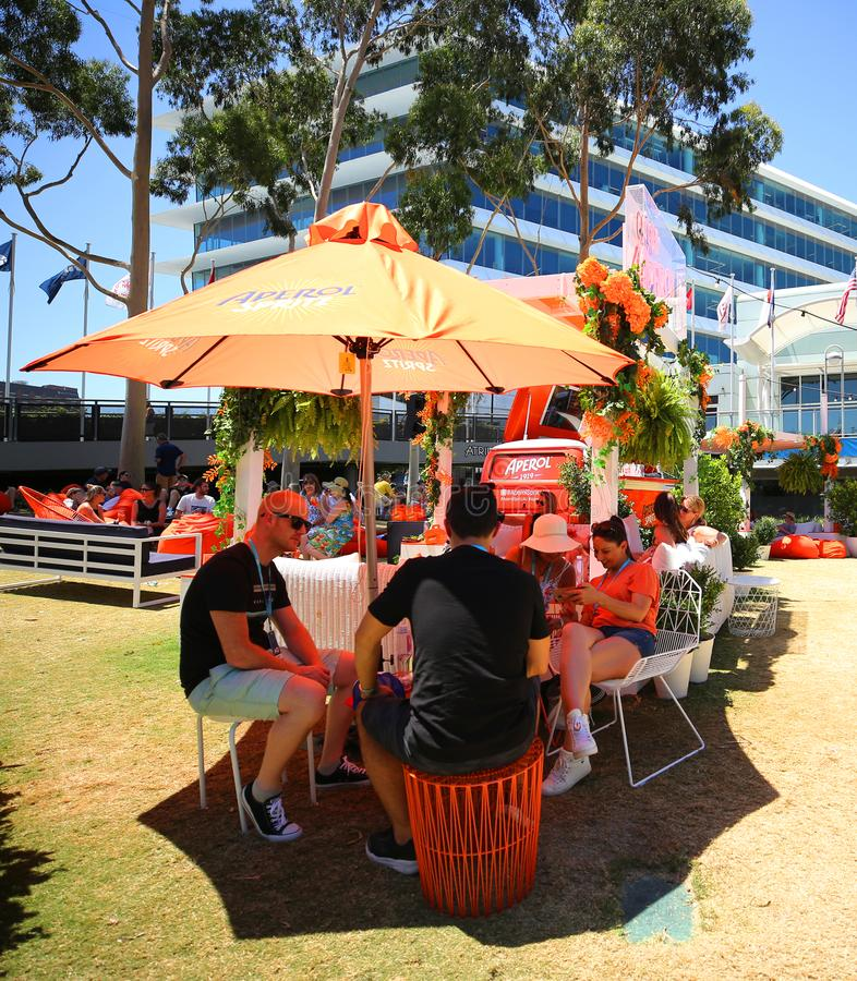 Aperol Spritz presented at Club Aperol at The Australian Open in Melbourne Park. MELBOURNE, AUSTRALIA - JANUARY 22, 2019: Aperol Spritz presented at Club Aperol royalty free stock image