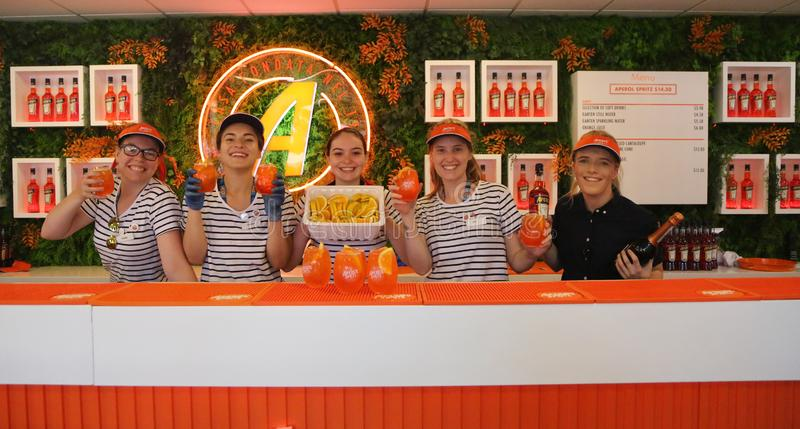 Aperol Spritz presented at Club Aperol at The Australian Open in Melbourne Park. MELBOURNE, AUSTRALIA - JANUARY 22, 2019: Aperol Spritz presented at Club Aperol stock photography