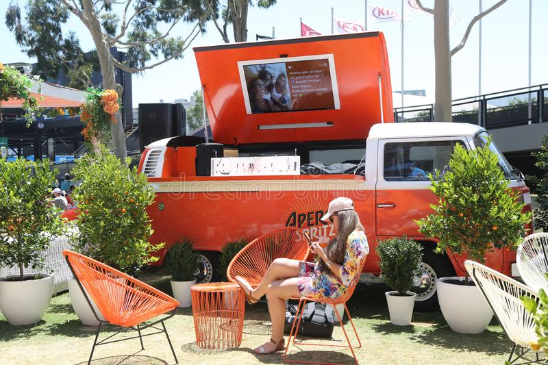 Aperol Spritz presented at Club Aperol at The Australian Open in Melbourne Park. MELBOURNE, AUSTRALIA - JANUARY 22, 2019: Aperol Spritz presented at Club Aperol stock photos