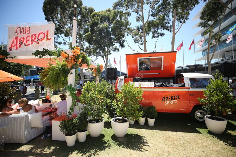 Aperol Spritz presented at Club Aperol at The Australian Open in Melbourne Park. MELBOURNE, AUSTRALIA - JANUARY 22, 2019: Aperol Spritz presented at Club Aperol royalty free stock images