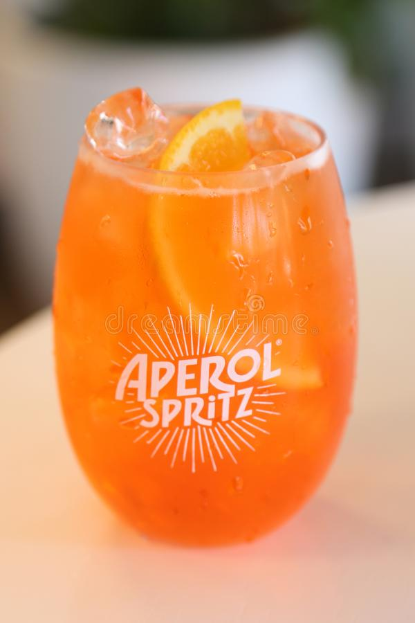 Aperol Spritz presented at Club Aperol at The Australian Open in Melbourne Park. MELBOURNE, AUSTRALIA - JANUARY 22, 2019: Aperol Spritz presented at Club Aperol royalty free stock photo