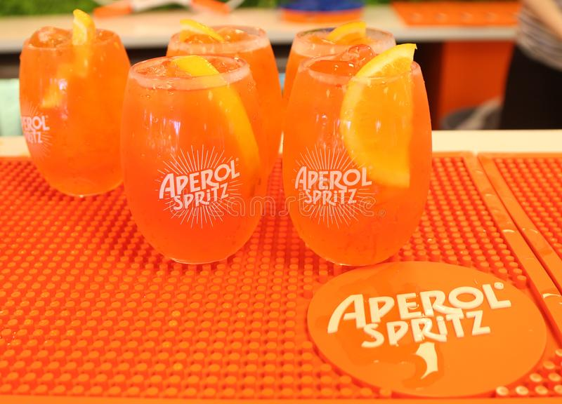 Aperol Spritz presented at Club Aperol at The Australian Open in Melbourne Park. MELBOURNE, AUSTRALIA - JANUARY 22, 2019: Aperol Spritz presented at Club Aperol royalty free stock photos