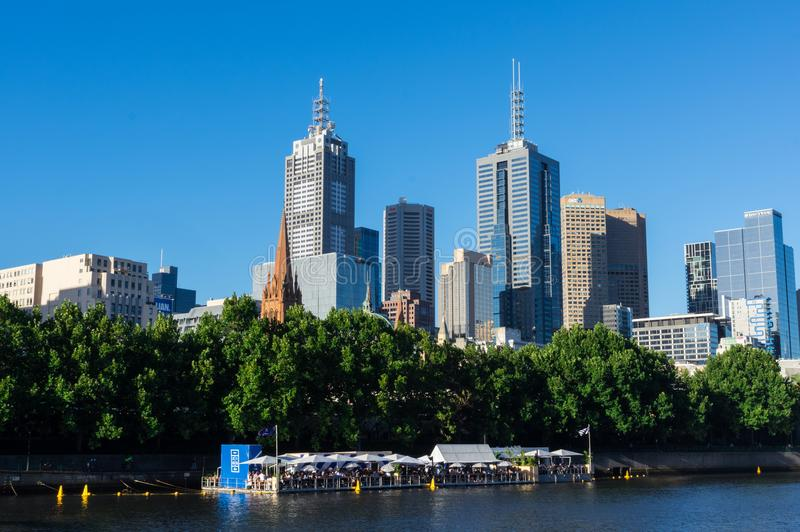 Arbory Afloat floating bar on the Yarra River in Melbourne. Melbourne, Australia - January 16, 2018: Arbory Afloat floating bar on the northern bank of the Yarra royalty free stock photos