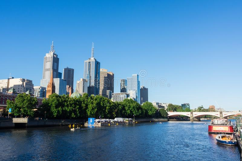 Arbory Afloat floating bar on the Yarra River in Melbourne. Melbourne, Australia - January 16, 2018: Arbory Afloat floating bar on the northern bank of the Yarra stock photos