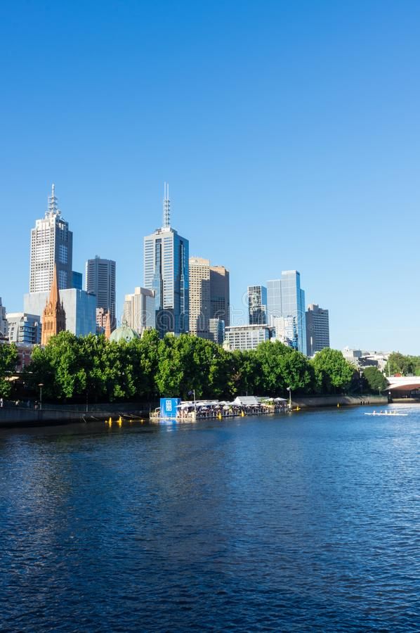 Arbory Afloat floating bar on the Yarra River in Melbourne. Melbourne, Australia - January 16, 2018: Arbory Afloat floating bar on the northern bank of the Yarra stock image