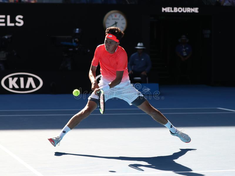 2019 Australian Open finalist Emilio Nava of United States in action during his Boys` Singles final match in Melbourne Park. MELBOURNE, AUSTRALIA - JANUARY 27 royalty free stock photo