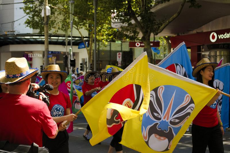 MELBOURNE, AUSTRALIA - JANUARY 26, 2019: different groups participate at the 2019 Australia Day Parade in Melbourne royalty free stock photos