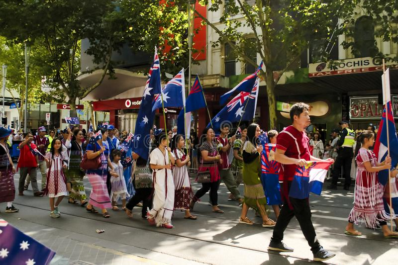 MELBOURNE, AUSTRALIA - JANUARY 26, 2019: different groups participate at the 2019 Australia Day Parade in Melbourne stock photos