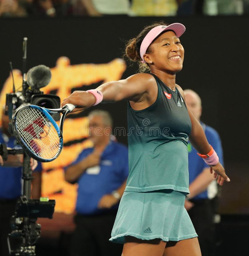 Grand Slam Champion Naomi Osaka of Japan celebrates victory after her semifinal match at 2019 Australian Open in Melbourne Park. MELBOURNE, AUSTRALIA - JANUARY royalty free stock image