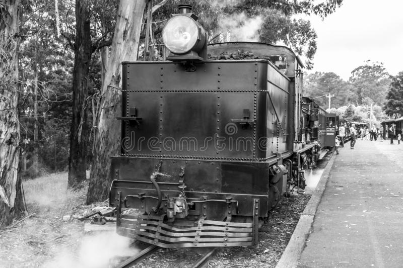 Melbourne, Australia - January 7, 2009: Puffing Billy steam train on the station. Historical narrow railway in the Dandenong stock image