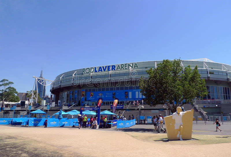 Rod Laver arena at Australian tennis center in MELBOURNE, AUSTRALIA. MELBOURNE, AUSTRALIA - JANUARY 29:Rod Laver arena at Australian tennis center on January royalty free stock photography