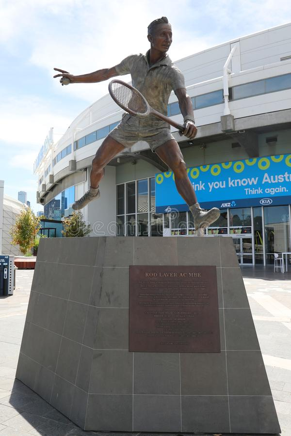 Rod Laver statue in front of Rod Laver arena at Australian tennis center in Melbourne Park. MELBOURNE, AUSTRALIA - JANUARY 22, 2019: Rod Laver statue in front of stock photography