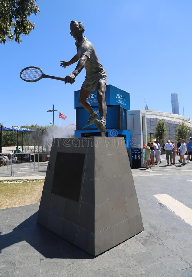Rod Laver statue in front of Rod Laver arena at Australian tennis center in Melbourne Park. MELBOURNE, AUSTRALIA - JANUARY 22, 2019: Rod Laver statue in front of royalty free stock photos