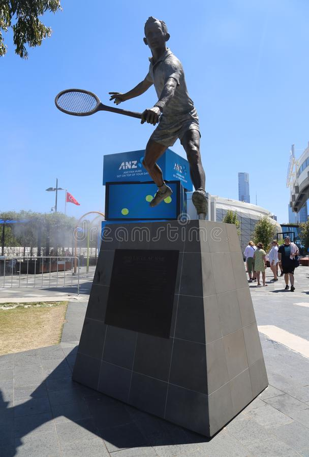 Rod Laver statue in front of Rod Laver arena at Australian tennis center in Melbourne Park. MELBOURNE, AUSTRALIA - JANUARY 22, 2019: Rod Laver statue in front of royalty free stock images