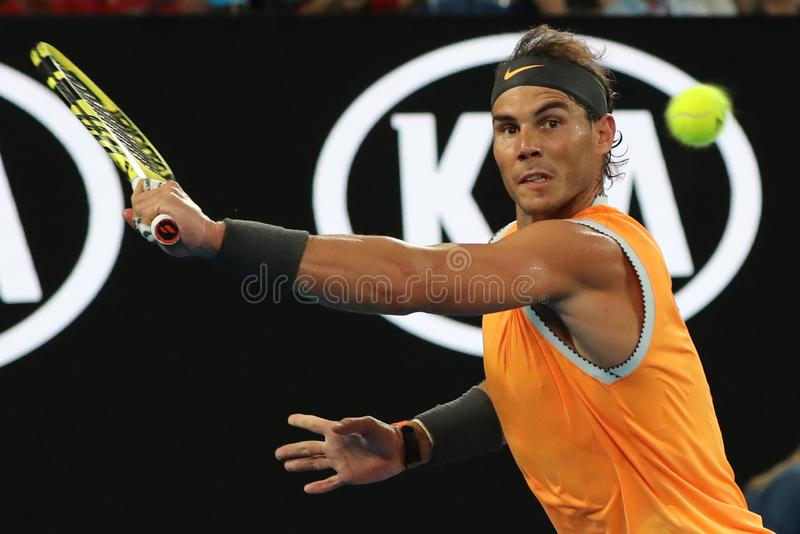Seventeen times Grand Slam champion Rafael Nadal of Spain in action during his semifinal match at 2019 Australian Open stock photography