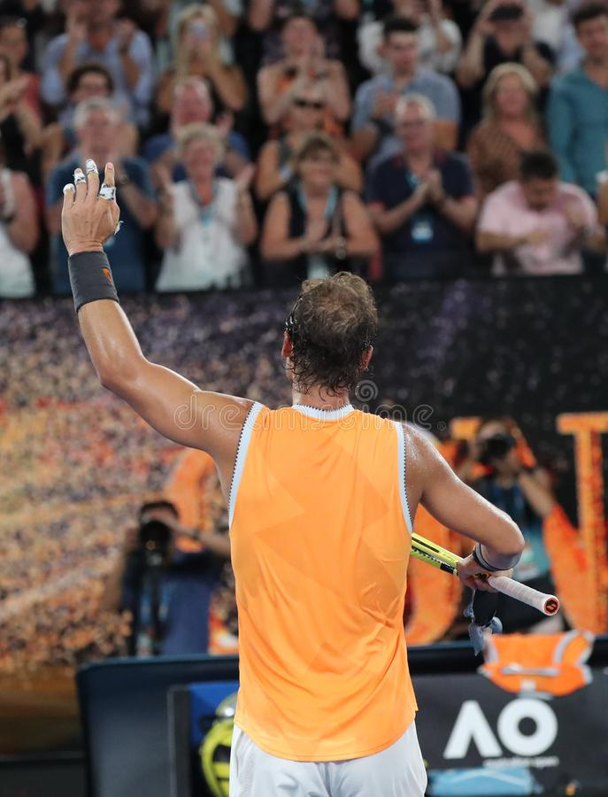 Seventeen times Grand Slam champion Rafael Nadal of Spain celebrates victory after his semifinal match at 2019 Australian Open royalty free stock image