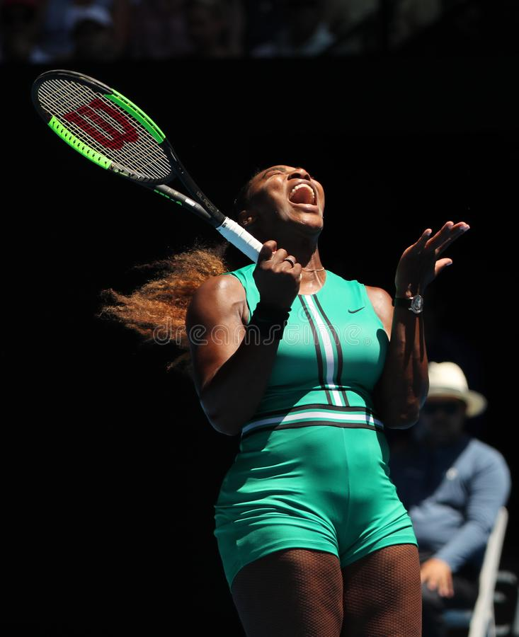23-time Grand Slam Champion Serena Williams of United States in action during her quarterfinal match at 2019 Australian Open stock photography