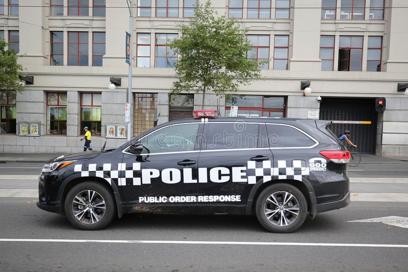 Victoria Police Public Order Response Team providing security in Melbourne stock images