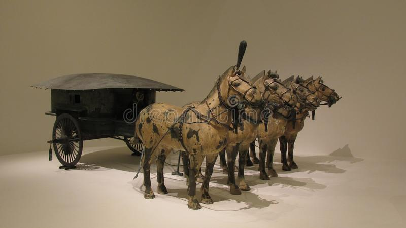 Horse chariot made in bronze with gold and silver decoration royalty free stock photos