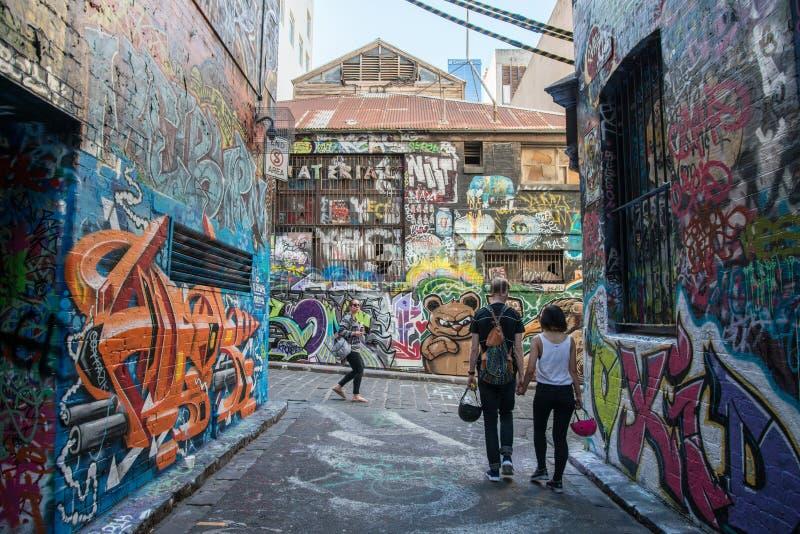 Melbourne, AUSTRALIA - JULY 5 2015: Hosier lane the famous street art lane in Melbourne, Victoria state of Australia. Taking a walk down Hosier Lane in stock photo