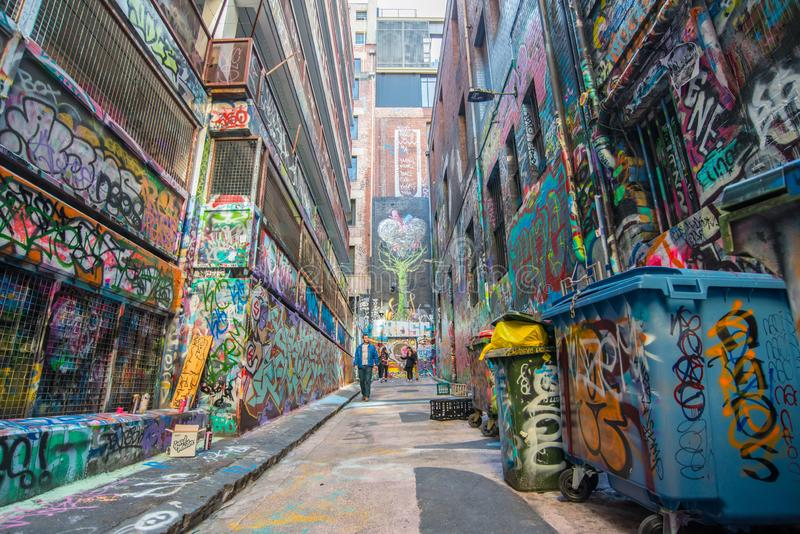 Melbourne, AUSTRALIA - JULY 5 2015: Hosier lane the famous street art lane in Melbourne, Victoria state of Australia. Taking a walk down Hosier Lane in royalty free stock images