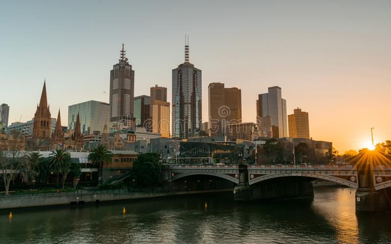 MELBOURNE, AUSTRALIA - 14 July 2018: View of the Melbourne Skyline and Yarra River at Sunrise royalty free stock image