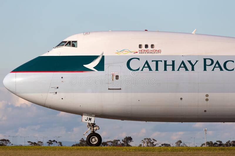 Cathay Pacific Cargo Airways Boeing 747-8 Cargo Aircraft B-LJM preparing for takeoff from Melbourne International Airport stock photo