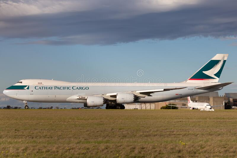 Cathay Pacific Cargo Airways Boeing 747-8 Cargo Aircraft B-LJM preparing for takeoff from Melbourne International Airport royalty free stock image