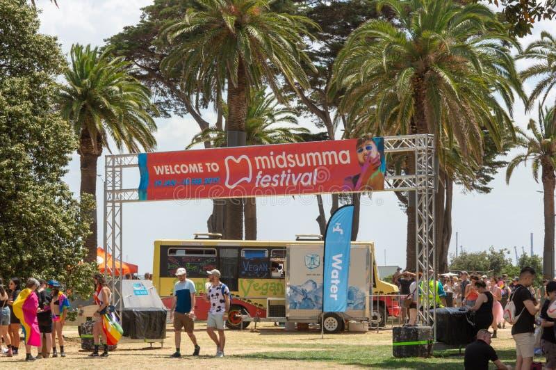 Melbourne Australia, Luty, - 3rd 2019: 2019 Midsumma festiwalu sztandar Wystawiający przy dumy Marzec Afterparty świętowaniami w  zdjęcia royalty free
