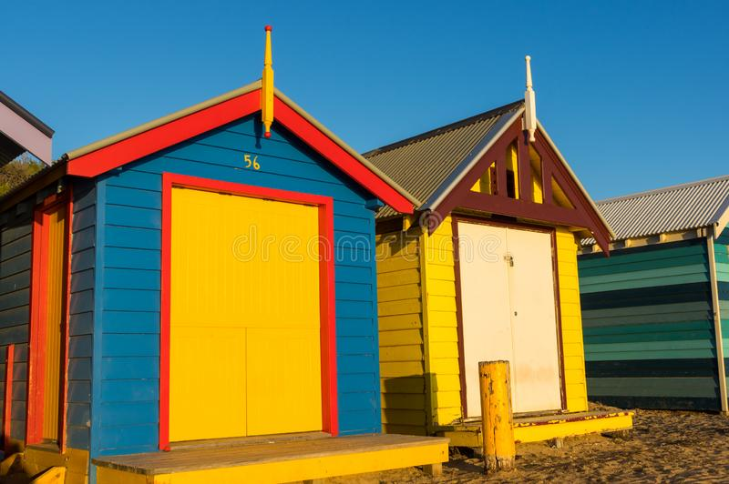 Colourful bathing boxes on Brighton Beach, Melbourne royalty free stock photography