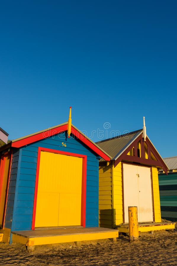 Colourful bathing boxes on Brighton Beach, Melbourne stock photography