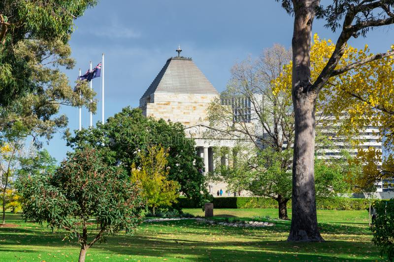 Shrine of Remembrance war memorial in the Kings Domain of Melbourne stock image