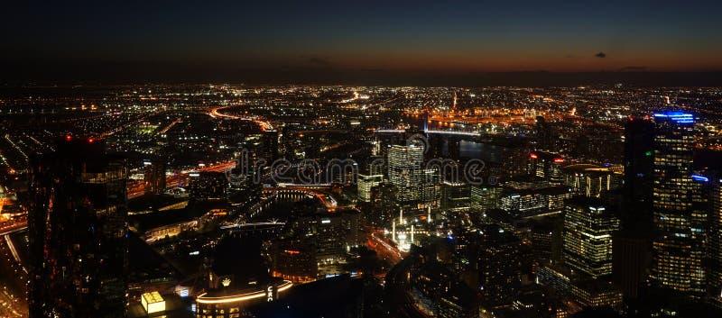 Melbourne Australia pejzażu miejskiego Nighttime fotografia royalty free