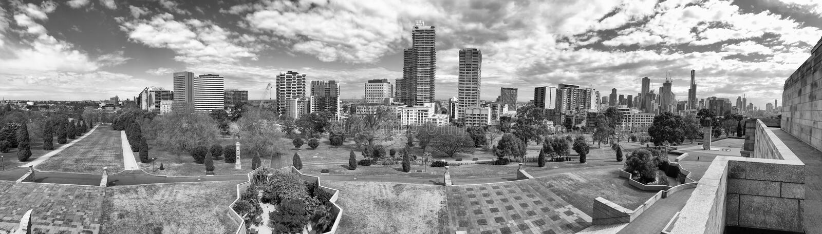 MELBOURNE, AUSTRALIA - SEPTEMBER 6, 2018: City skyline from Shrine of Remembrance Park. Melbourne attracts 15 million tourists. Annually royalty free stock photo