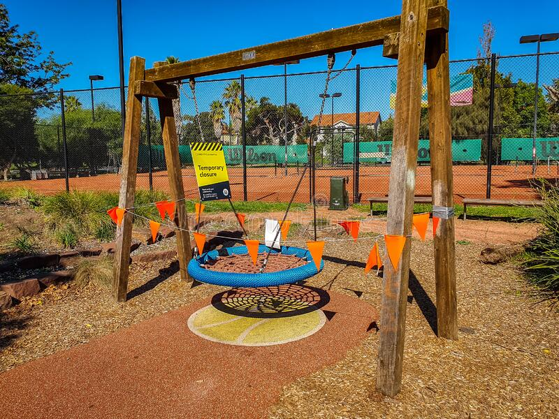 Melbourne, Australia - Temporary Closure due to COVID-19 Coronavirus sign at a playground in Port Melbourne.  royalty free stock images