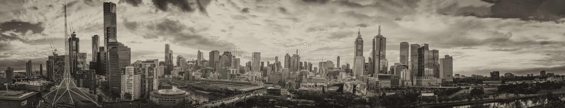 Melbourne, Australie Panorama aérien de coucher du soleil d'horizon de ville photos stock